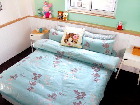 床包 / 特大雙人 印花設計款 / 飄絮 100%精梳棉  特大雙人床包含二個枕套