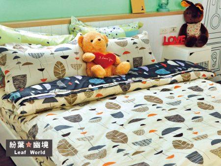 床包 / 特大雙人 印花設計款 / 紛葉幽境 100%精梳棉  特大雙人床包含二個枕套