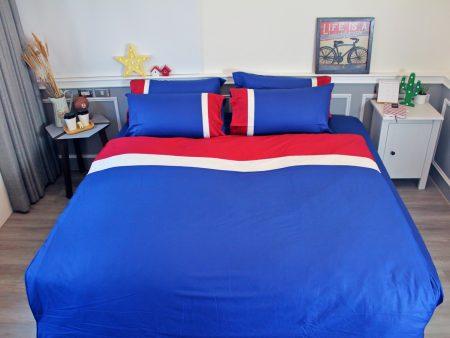 床包 / 單人 素色混搭設計款 / 藍X紅X白 100%精梳棉  單人床包含一個枕套
