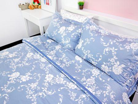 床包被套組 / 特大雙人 印花設計款 / 春韻湛藍 100%精梳棉  特大雙人床包被套組