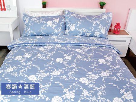 床包 / 加大雙人 印花設計款 / 春韻湛藍 100%精梳棉  加大雙人床包含二個枕套