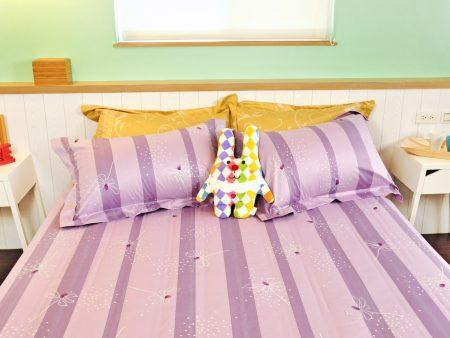 床包被套組 / 特大雙人 印花設計款 / 蜻蜓紫迷 100%精梳棉  特大雙人床包被套組