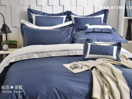 床包兩用被組 / 雙人 純色設計款 / 湛藍 60支精梳棉 雙人床包兩用被組