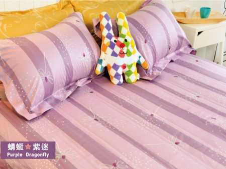 床包 / 加大雙人 印花設計款 / 蜻蜓紫迷 100%精梳棉  加大雙人床包含二個枕套