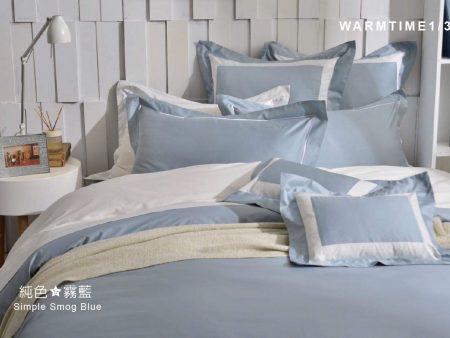 床包兩用被組 / 雙人 純色設計款 / 霧藍 60支精梳棉 雙人床包兩用被組